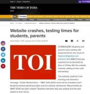 Website crashes, testing times for students, parents | Chandigarh News Times of India