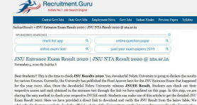 JNU Entrance Exam Result 2020 | JNU NTA Result 2020 @ nta.ac.in