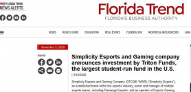 Simplicity Esports and Gaming company announces investment by Triton Funds, the largest student-run fund in the U.S.