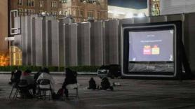 Temple students attend outdoor movie night
