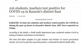 216 students, teachers test positive for COVID-19 in Karachi's district East