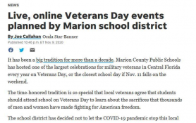 Live, online Veterans Day events planned by Marion school district
