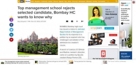 Top management school rejects selected candidate, Bombay HC wants to know why
