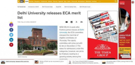 Delhi University releases ECA merit list