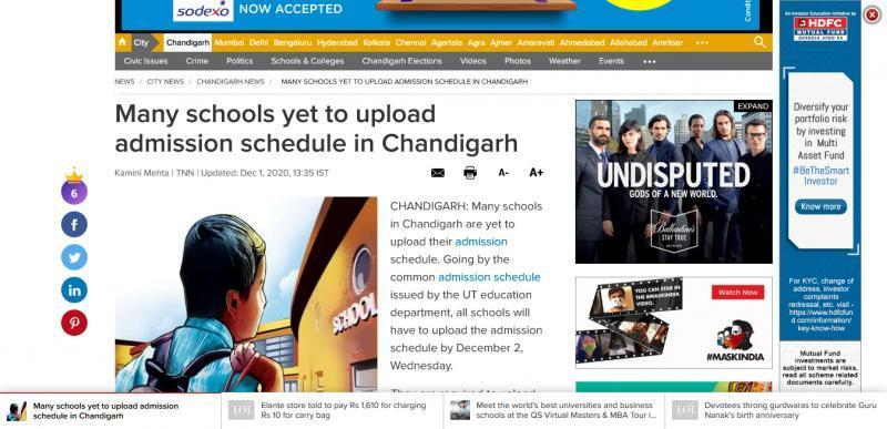 Many schools yet to upload admission schedule in Chandigarh
