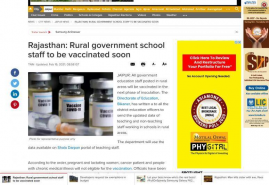 Rajasthan: Rural government school staff to be vaccinated soon