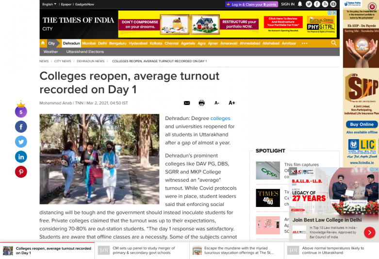 Colleges reopen, average turnout recorded on Day 1