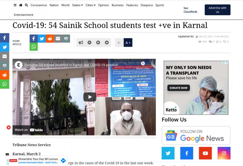 Covid-19: 54 Sainik School students test +ve in Karnal
