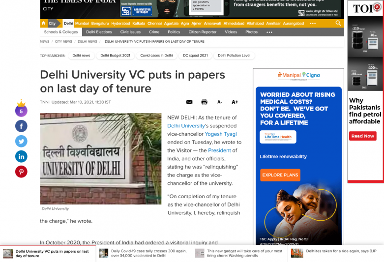Delhi University VC puts in papers on last day of tenure