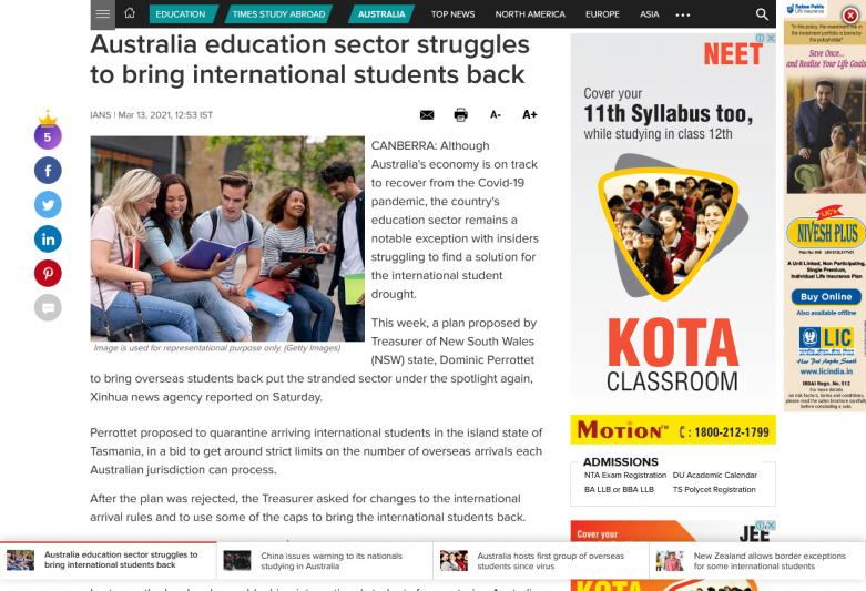 Australia education sector struggles to bring international students back