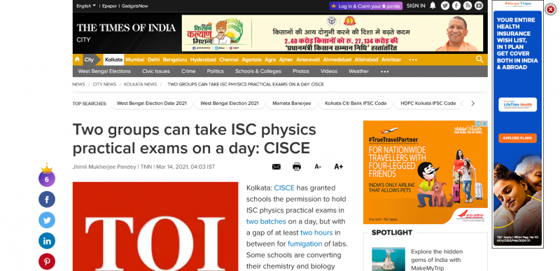 Two groups can take ISC physics practical exams on a day: CISCE