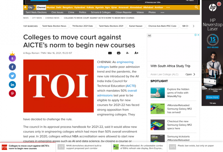 Colleges to move court against AICTE's norm to begin new courses