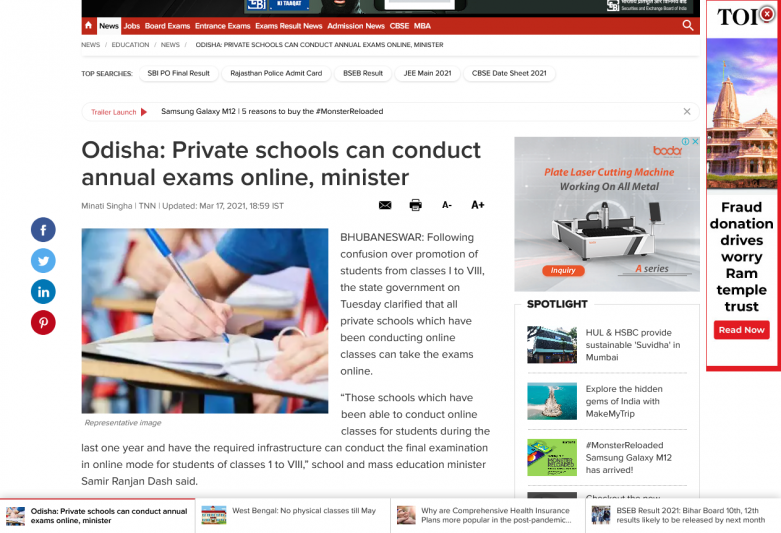 Odisha: Private schools can conduct annual exams online, minister
