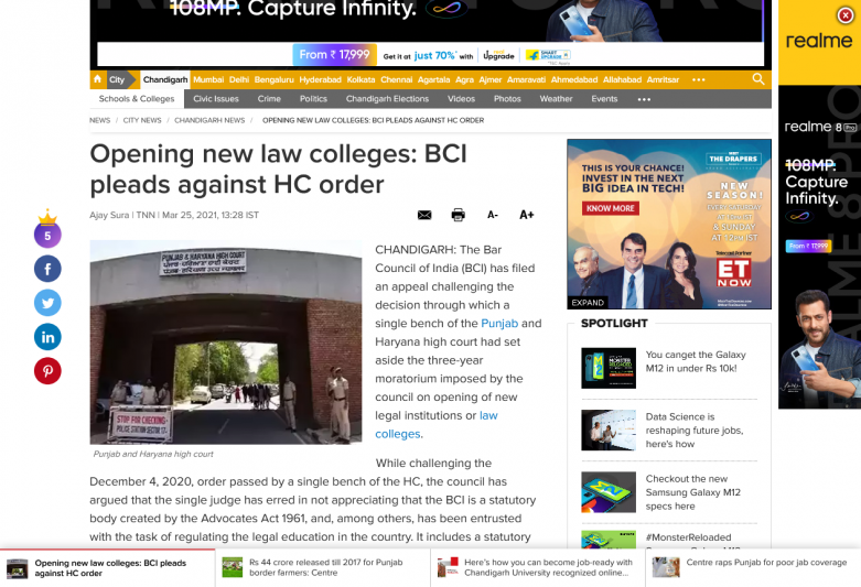 Opening new law colleges: BCI pleads against HC order