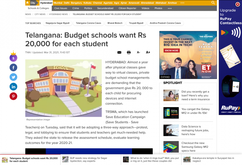 Telangana: Budget schools want Rs 20,000 for each student
