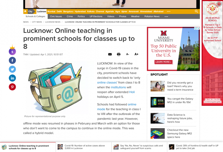 Lucknow: Online teaching in prominent schools for classes up to 8