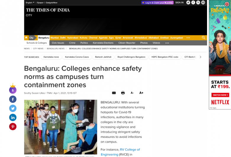Bengaluru: Colleges enhance safety norms as campuses turn containment zones