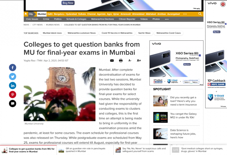 Colleges to get question banks from MU for final-year exams in Mumbai
