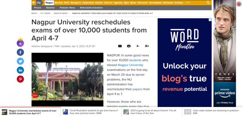 Nagpur University reschedules exams of over 10,000 students from April 4-7