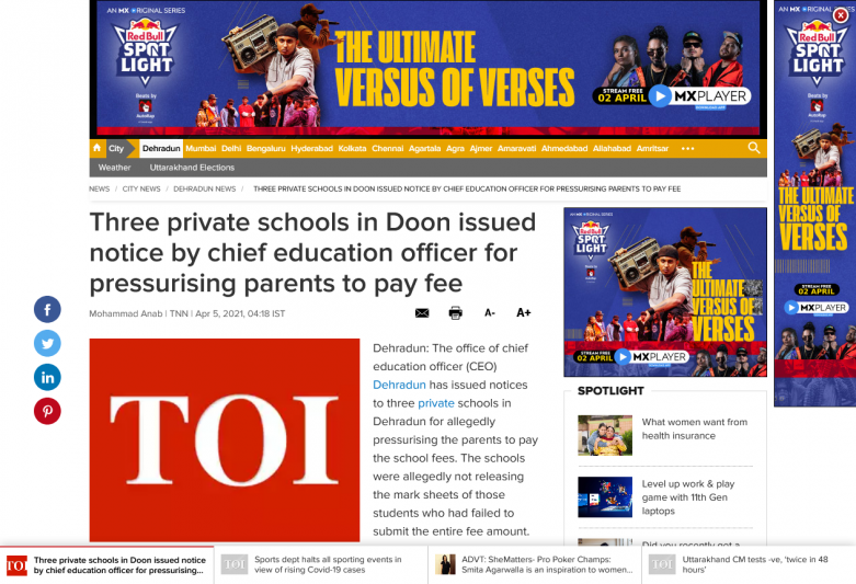 Three private schools in Doon issued notice by chief education officer for pressurising parents to pay fee