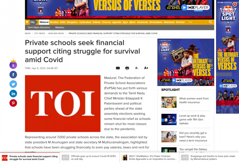 Private schools seek financial support citing struggle for survival amid Covid