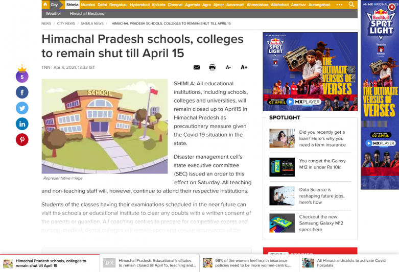 Himachal Pradesh schools, colleges to remain shut till April 15