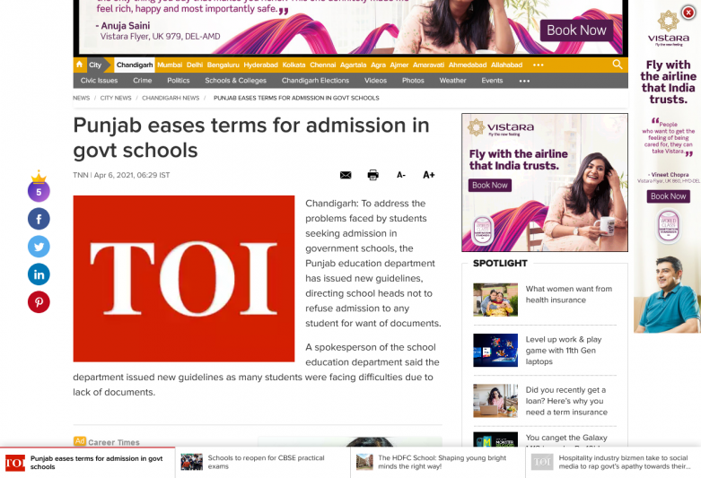Punjab eases terms for admission in govt schools