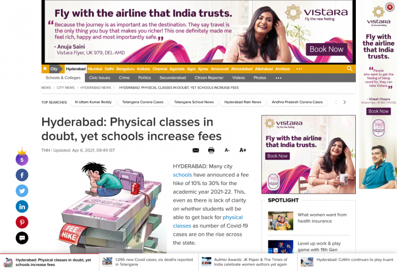 Hyderabad: Physical classes in doubt, yet schools increase fees