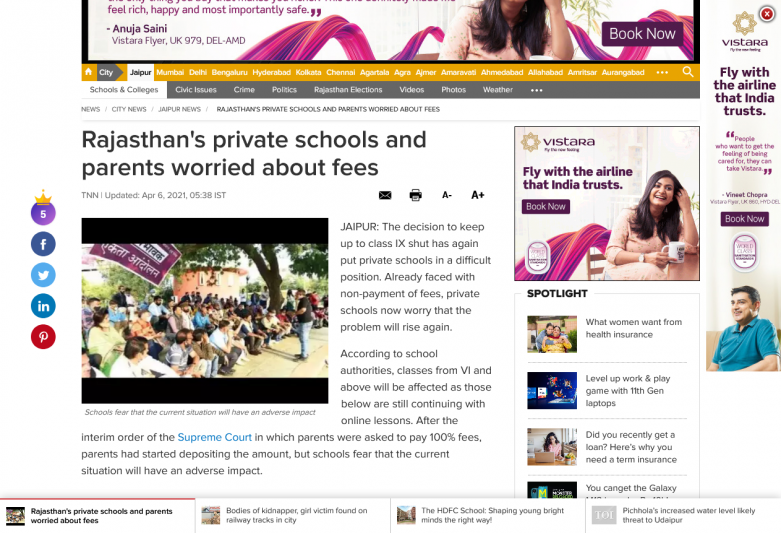 Rajasthan's private schools and parents worried about fees