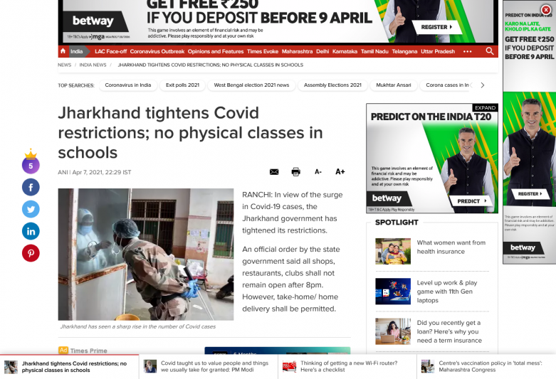 Jharkhand tightens Covid restrictions; no physical classes in schools