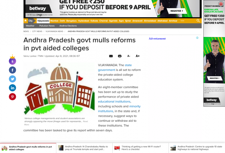 Andhra Pradesh govt mulls reforms in pvt aided colleges