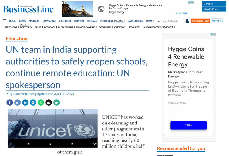 UN team in India supporting authorities to safely reopen schools, continue remote education: UN spokesperson