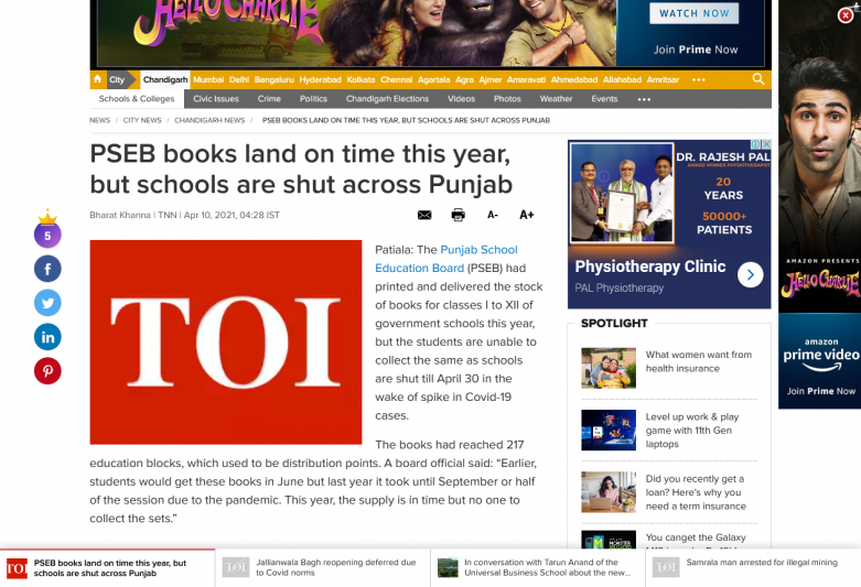 PSEB books land on time this year, but schools are shut across Punjab