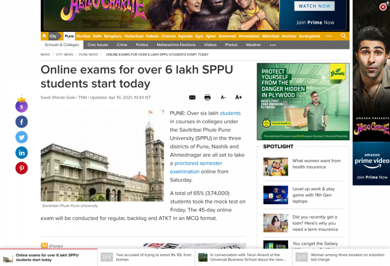 Online exams for over 6 lakh SPPU students start today
