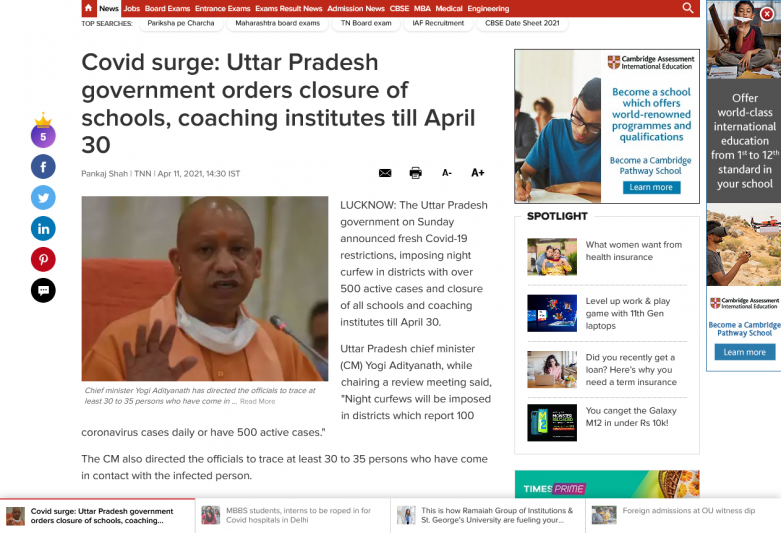 Covid surge: Uttar Pradesh government orders closure of schools, coaching institutes till April 30