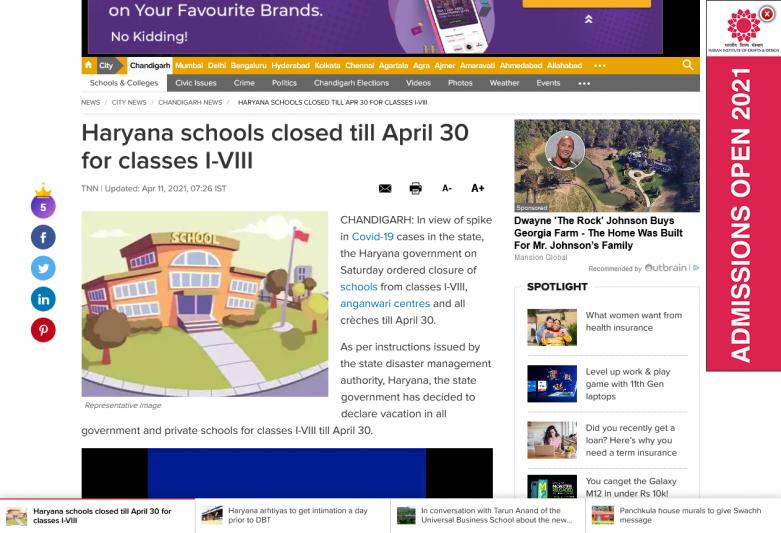 Haryana schools closed till April 30 for classes I-VIII