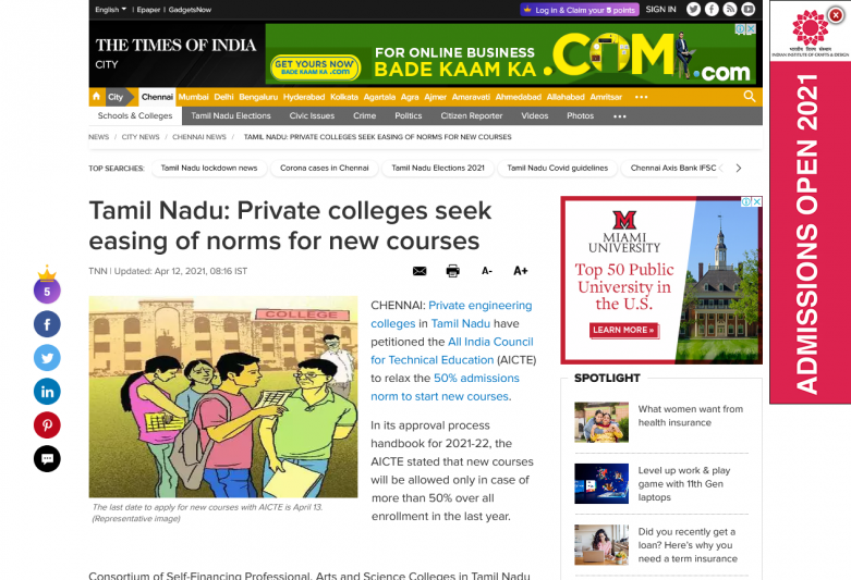 Tamil Nadu: Private colleges seek easing of norms for new courses