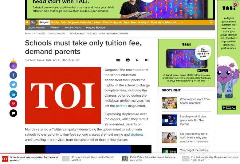 Schools must take only tuition fee, demand parents