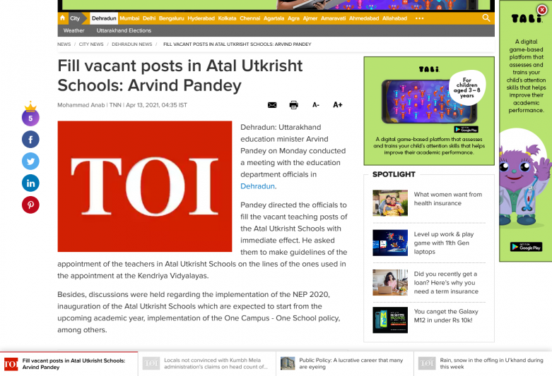 Fill vacant posts in Atal Utkrisht Schools: Arvind Pandey