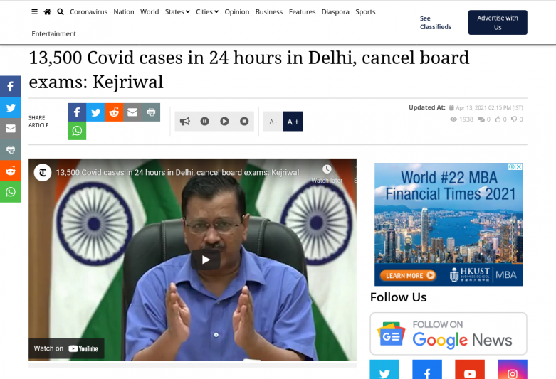 13,500 Covid cases in 24 hours in Delhi, cancel board exams: Kejriwal