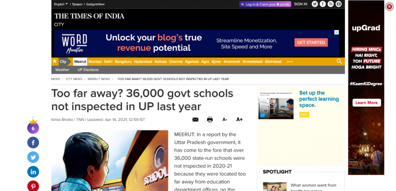Too far away? 36,000 govt schools not inspected in UP last year