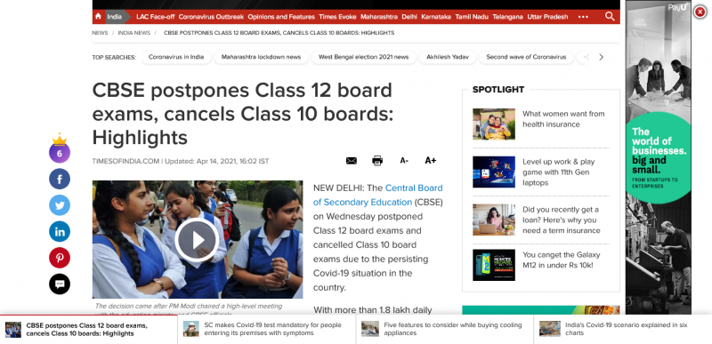 CBSE Board Exam 2021: CBSE postpones Class 12 board exams, cancels Class 10 boards: Highlights