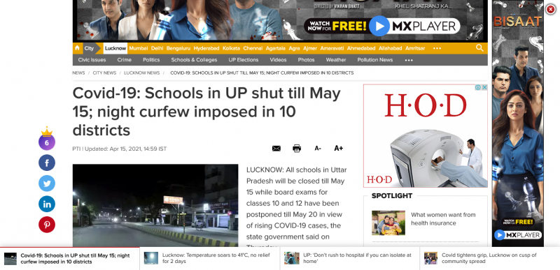 UP lockdown news: Schools in UP shut till May 15; night curfew imposed in 10 districts