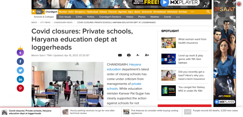 Covid closures: Private schools, Haryana education dept at loggerheads
