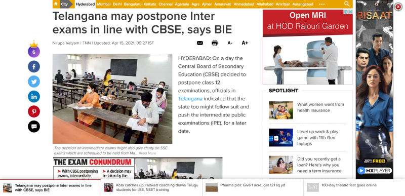 Telangana may postpone Inter exams in line with CBSE, says BIE
